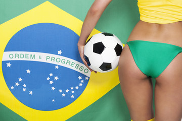 Sexy brazilian woman with soccer ball