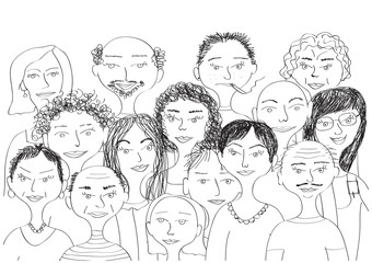 group of people sketch