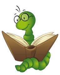 niedlicher Bücherwurm