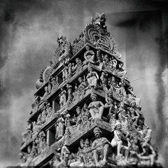 Sri Mariamman Hindu Temple in Singapore. (Vintage style)