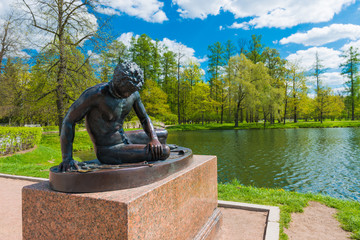 Statue  near Grotto pavilion in Catherine park in Tsarskoe Selo