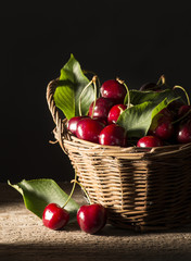 cherries on the wooden table