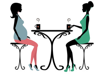 Silhouette of two fashionable women
