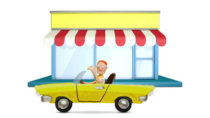 Man driving a convertible near store, stop motion.