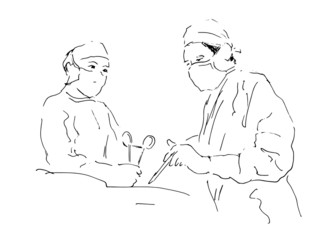 sketch two doctors operating. Vector illustration