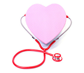 Red stethoscope with Gift box shape heart