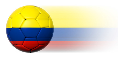 Soccer ball with Colombian flag in motion isolated