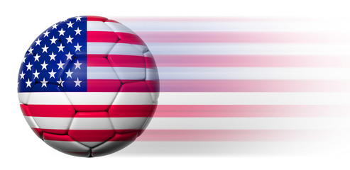 Soccer ball with American flag in motion isolated