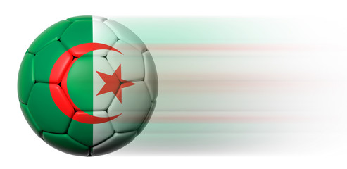 Soccer ball with Algerian flag in motion isolated