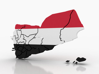 3d Yemen administrative map with flag