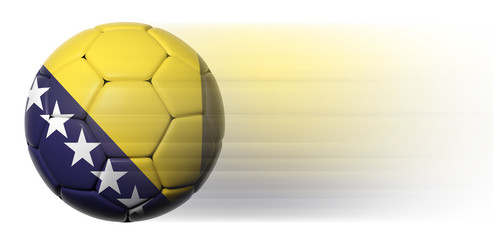 Soccer ball with Bosnia and Herzegovina flag in motion isolated