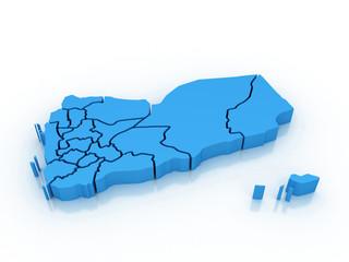 3d Yemen administrative map