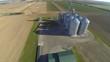 An aerial view of a rural grain elevator