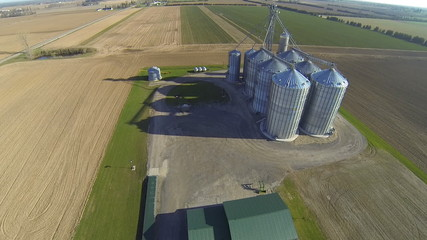 An aerial view of a rural grain elevator