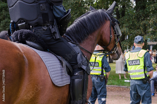 Foto op Aluminium Beijing mounted police horse and policeman public event