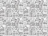 seamless doodle pet pattern - 65758888