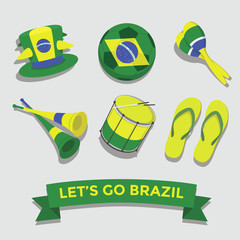 Let's go Brazil icon for cheering fan set