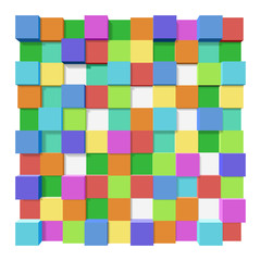Cubes at different levels as an abstract background.