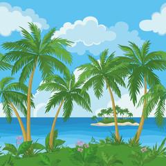 Exotic seamless tropical sea landscape