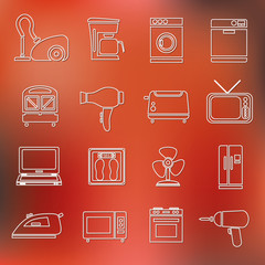home appliance outline icons
