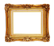 Antique of gold photo frame isolated clipping path.