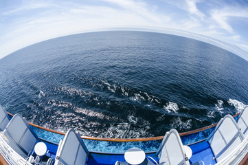 Fish Eye View of the Ocean from a Cruise Ship