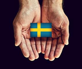 sweden flag in hands