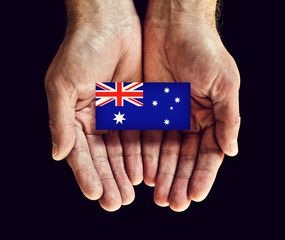 australia flag in hands