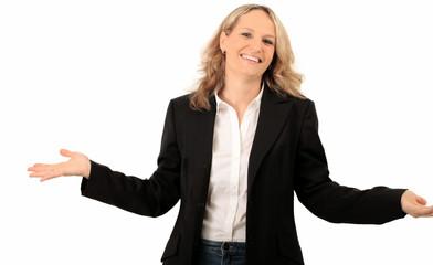Lockere Geschäftsfrau freut sich