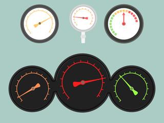 Set of four gauges. Vector illustration