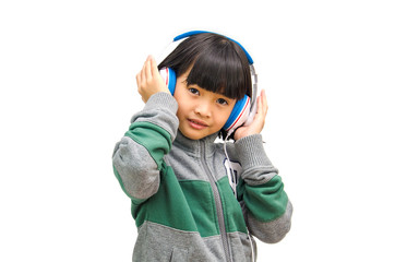 Girl listens the music.