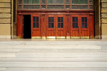Wooden doors of Haydarpasha station building, Istanbul