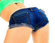 Female ass in blue jeans shorts