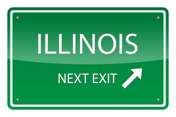 Green road sign, vector - Illinois