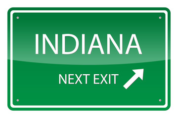 Green road sign, vector - Indiana