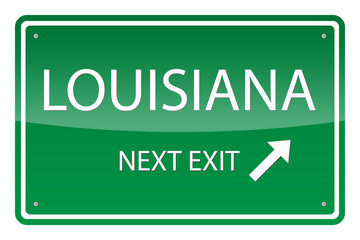 Green road sign, vector - Louisiana