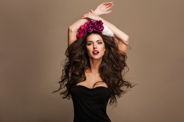 Fashion Beauty Model Girl with Flowers Hair. Perfect Creative