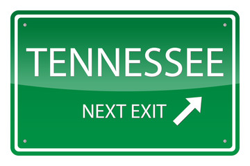 Green road sign, vector - Tennessee