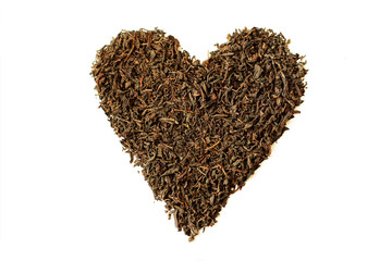 Tea leaves in the shape of heart