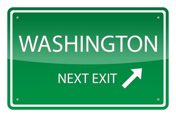 Green road sign, vector - Washington