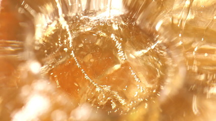 whisky and ice in glass, bubble float, background