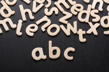 Wooden letters spell abc on a blackboard