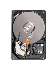 Internal hard drive disk or computer storage. Isolated on white