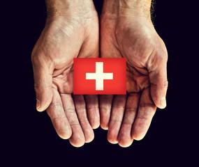 switzerland flag in hand