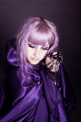 beautiful girl with purple hair in velvet, gothic