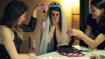 Bachelorette party, woman gets sexy gifts from her friends