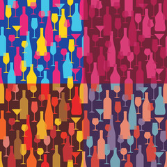 Background with Wine Bottles and Glasses - Seamless Pattern