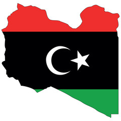 Vector map with the flag inside - Libya.