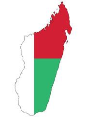 Vector map with the flag inside - Madagascar.