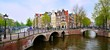 Panoramic image of the canals and bridges of Amsterdam